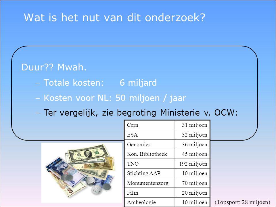 Wat is het nut van dit onderzoek? Duur?? Mwah. –Totale kosten: 6 miljard –Kosten voor NL: 50 miljoen / jaar –Ter vergelijk, zie begroting Ministerie v