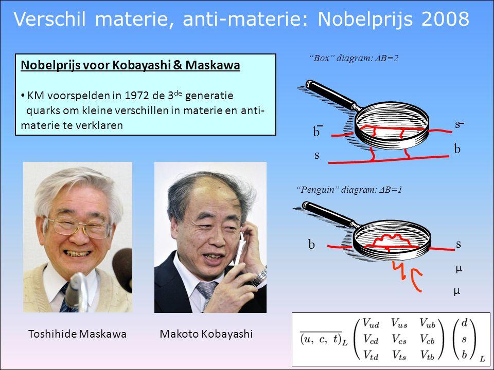 Nobelprijs voor Kobayashi & Maskawa • KM voorspelden in 1972 de 3 de generatie quarks om kleine verschillen in materie en anti- materie te verklaren T