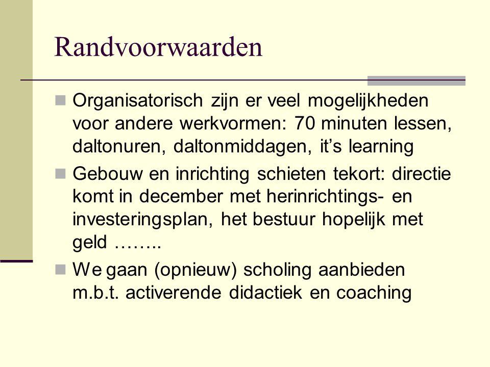 Randvoorwaarden  Organisatorisch zijn er veel mogelijkheden voor andere werkvormen: 70 minuten lessen, daltonuren, daltonmiddagen, it's learning  Ge