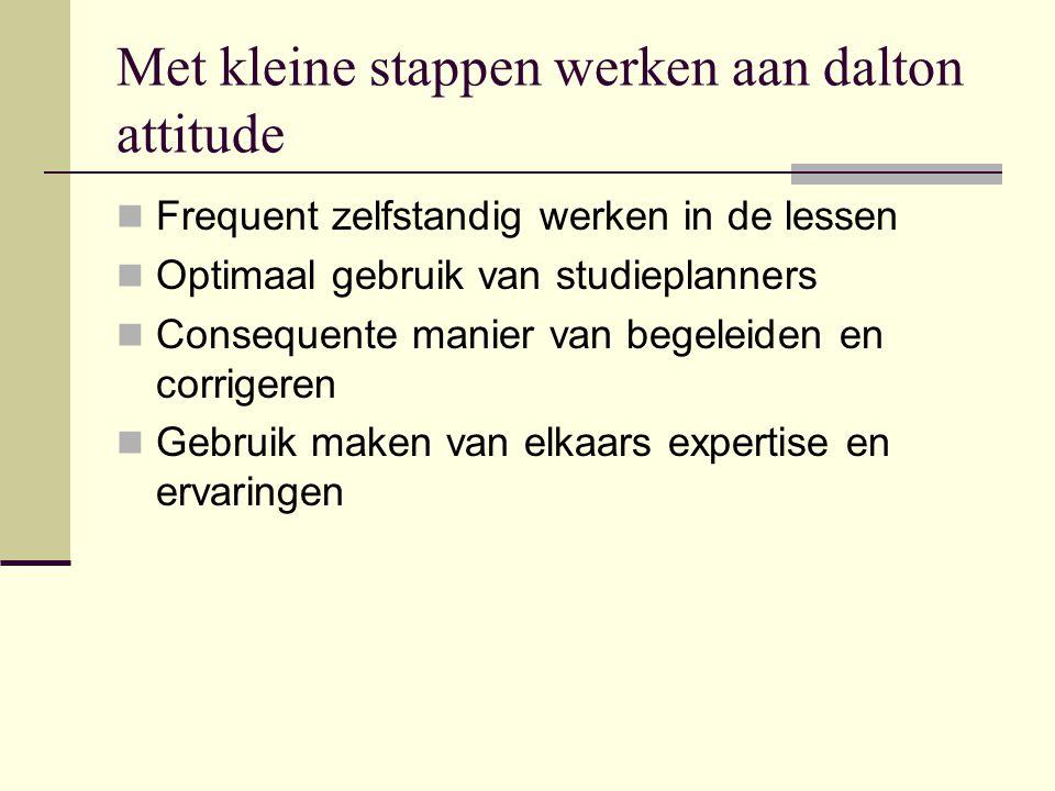 Met kleine stappen werken aan dalton attitude  Frequent zelfstandig werken in de lessen  Optimaal gebruik van studieplanners  Consequente manier va