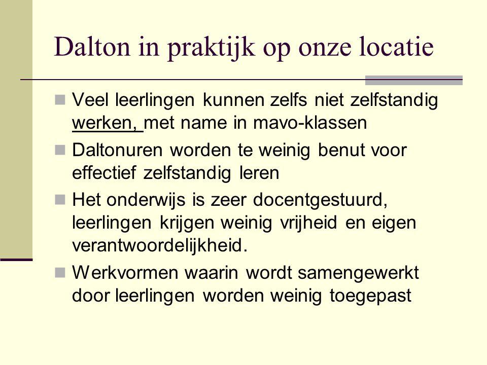 Dalton in praktijk op onze locatie  Veel leerlingen kunnen zelfs niet zelfstandig werken, met name in mavo-klassen  Daltonuren worden te weinig benu