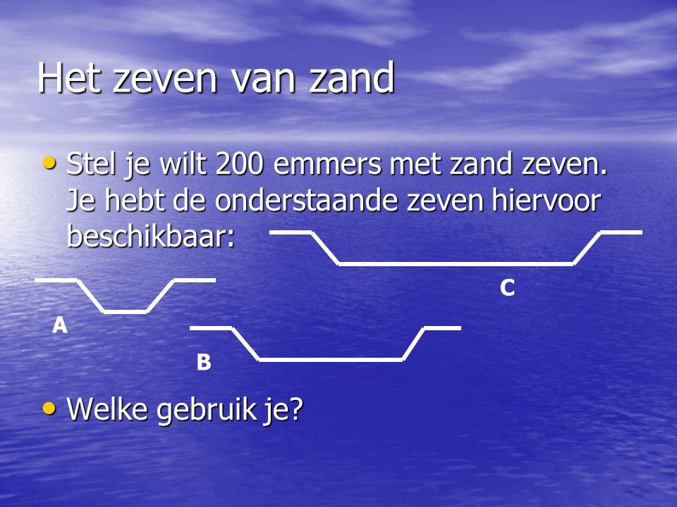 Het zeven van zand • Stel je wilt 200 emmers met zand zeven. Je hebt de onderstaande zeven hiervoor beschikbaar: • Welke gebruik je? A C B