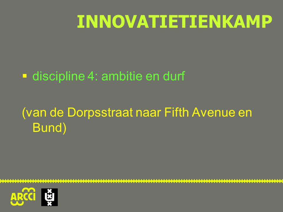  discipline 4: ambitie en durf (van de Dorpsstraat naar Fifth Avenue en Bund) INNOVATIETIENKAMP