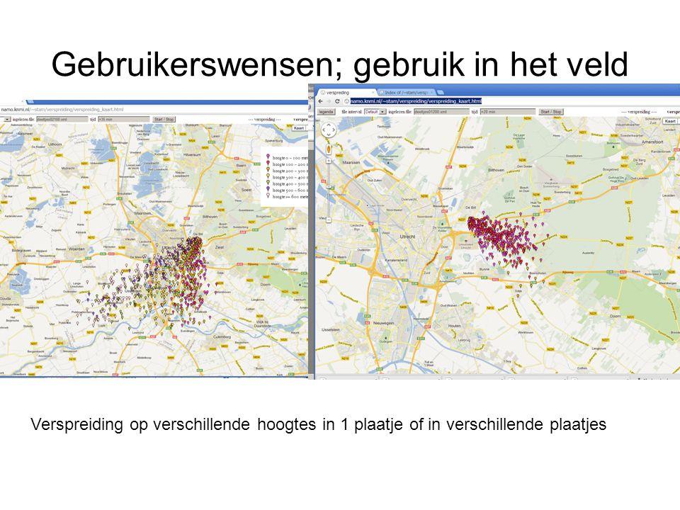 Gebruikerswensen; gebruik in het veld Zoom niveau; PAS OP: zo nauwkeurig is het model misschien niet.
