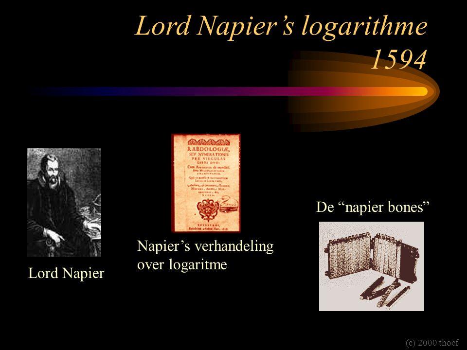 """Lord Napier's logarithme 1594 Lord Napier Napier's verhandeling over logaritme De """"napier bones"""" (c) 2000 thocf"""