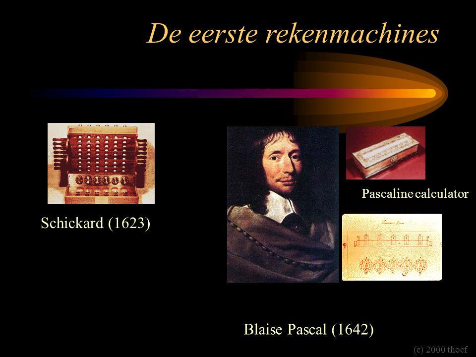 De eerste rekenmachines Schickard (1623) Blaise Pascal (1642) Pascaline calculator (c) 2000 thocf