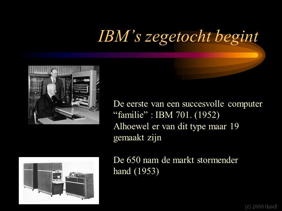 """IBM's zegetocht begint De eerste van een succesvolle computer """"familie"""" : IBM 701. (1952) Alhoewel er van dit type maar 19 gemaakt zijn De 650 nam de"""