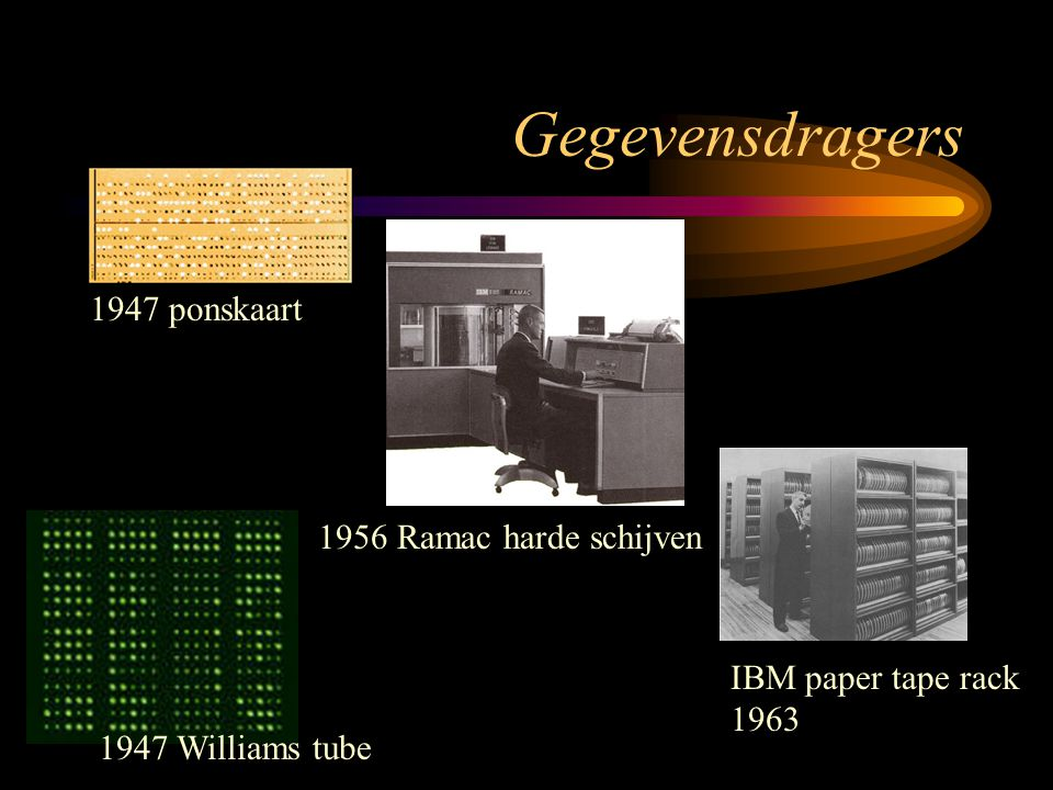 Gegevensdragers 1956 Ramac harde schijven 1947 ponskaart 1947 Williams tube IBM paper tape rack 1963