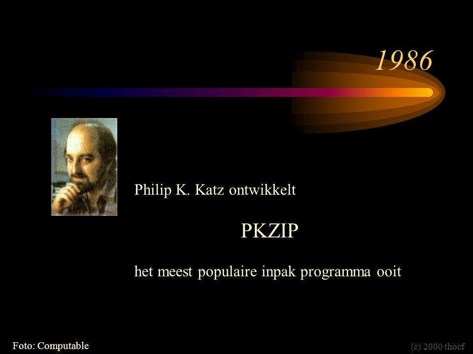 1986 Philip K. Katz ontwikkelt PKZIP het meest populaire inpak programma ooit Foto: Computable (c) 2000 thocf