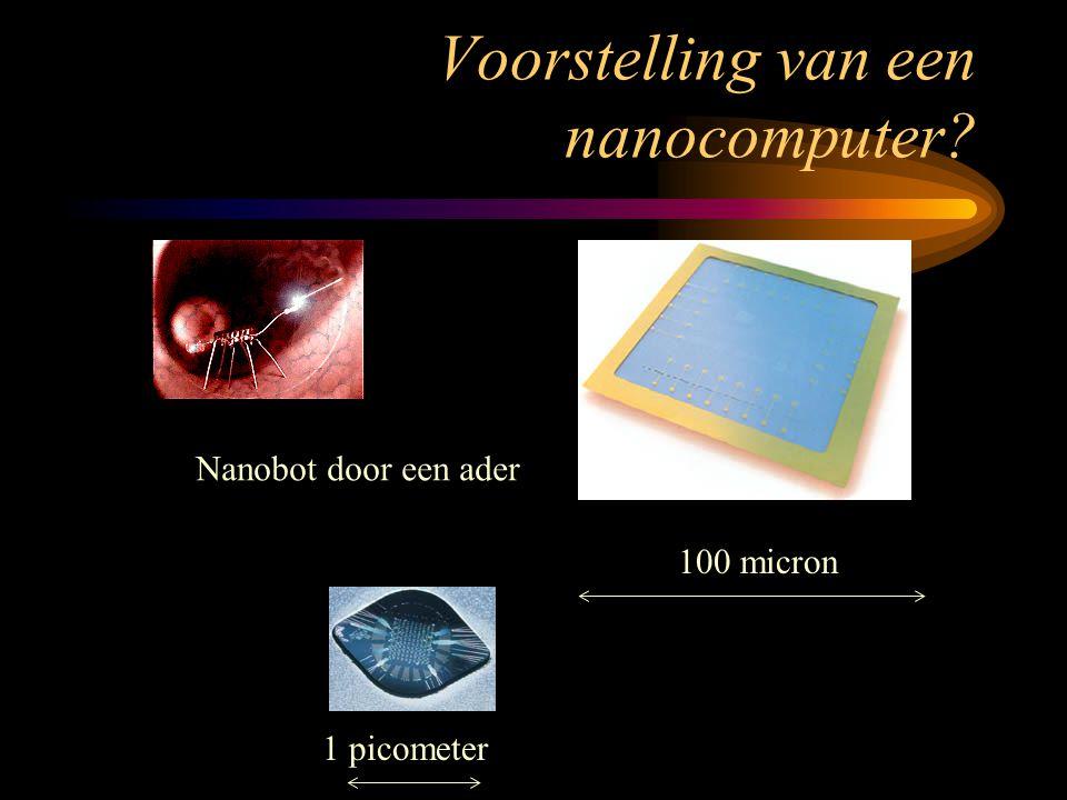Voorstelling van een nanocomputer? Nanobot door een ader 100 micron 1 picometer