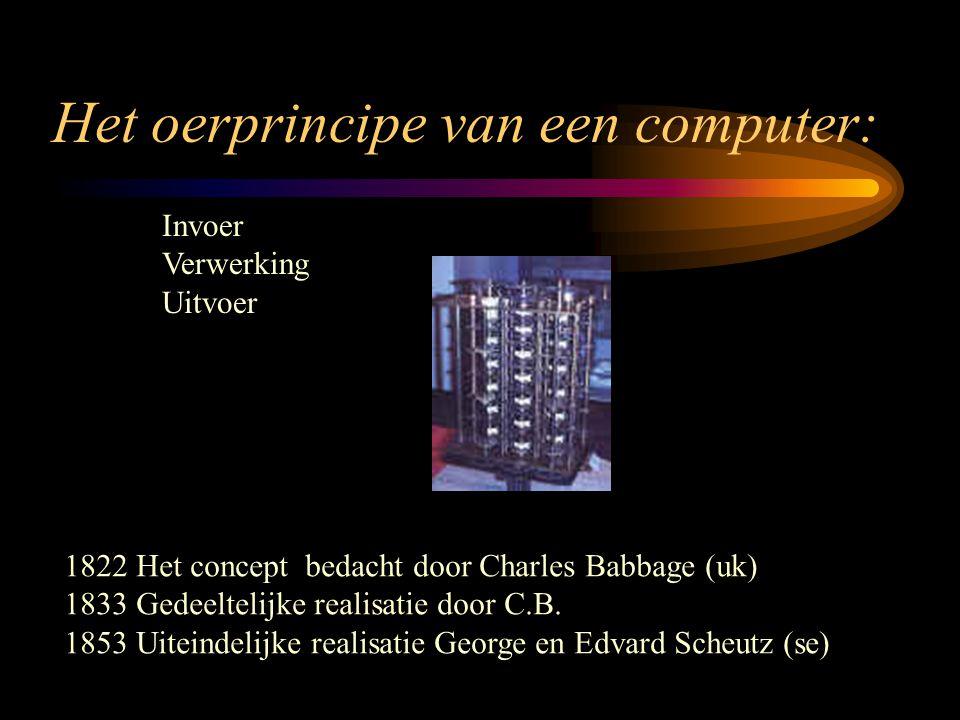 Het oerprincipe van een computer: Invoer Verwerking Uitvoer 1822 Het concept bedacht door Charles Babbage (uk) 1833 Gedeeltelijke realisatie door C.B.