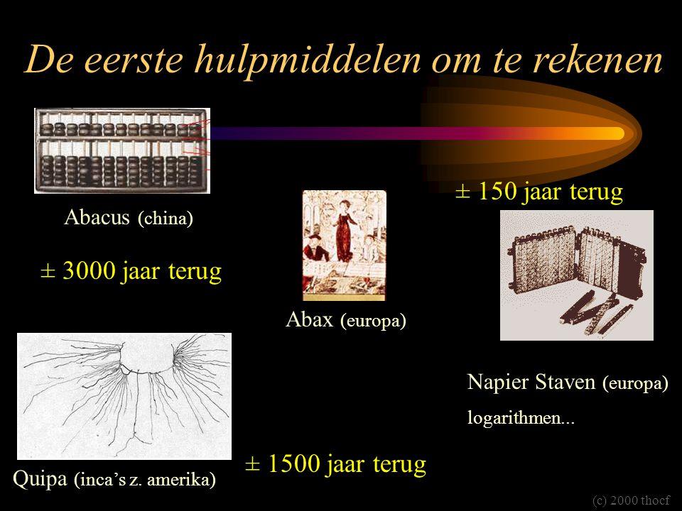 De eerste hulpmiddelen om te rekenen Abacus (china) Abax (europa) Napier Staven (europa) logarithmen... Quipa (inca's z. amerika) (c) 2000 thocf ± 300