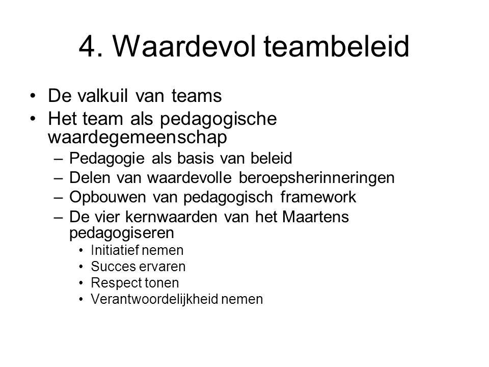4. Waardevol teambeleid •De valkuil van teams •Het team als pedagogische waardegemeenschap –Pedagogie als basis van beleid –Delen van waardevolle bero