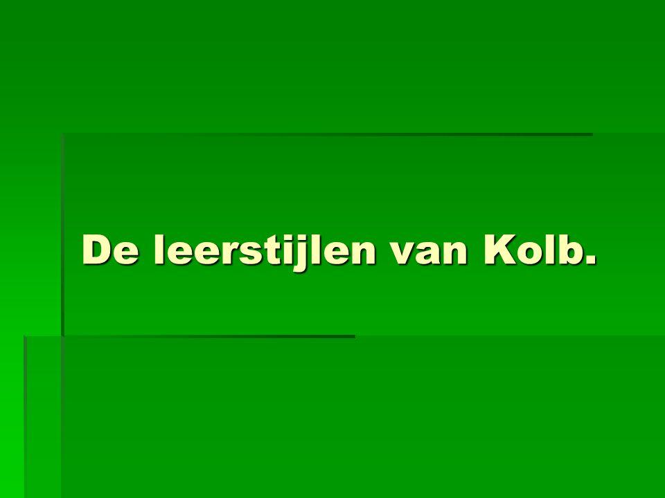 De leerstijlen van Kolb. De leerstijlen van Kolb.