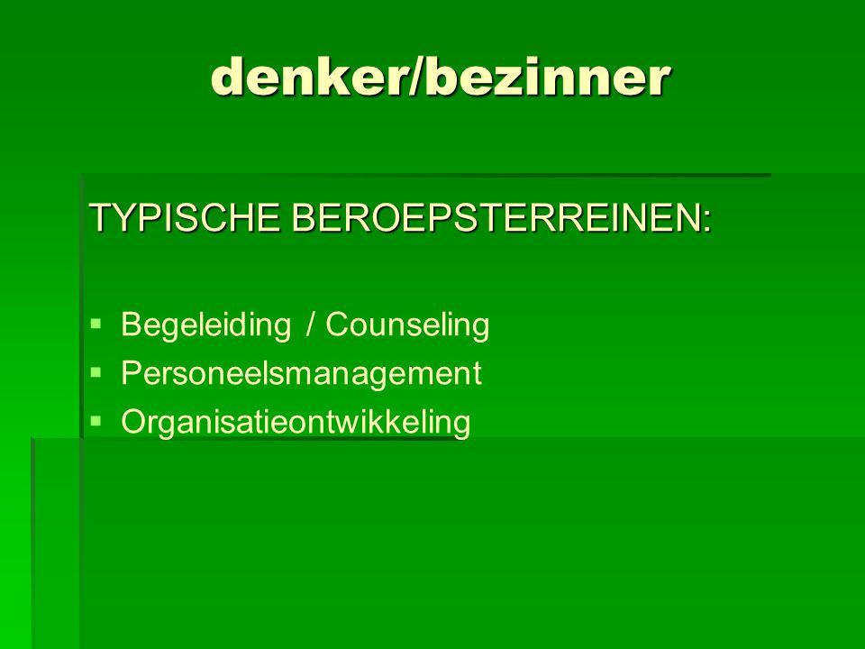 denker/bezinner TYPISCHE BEROEPSTERREINEN:  Begeleiding / Counseling  Personeelsmanagement  Organisatieontwikkeling