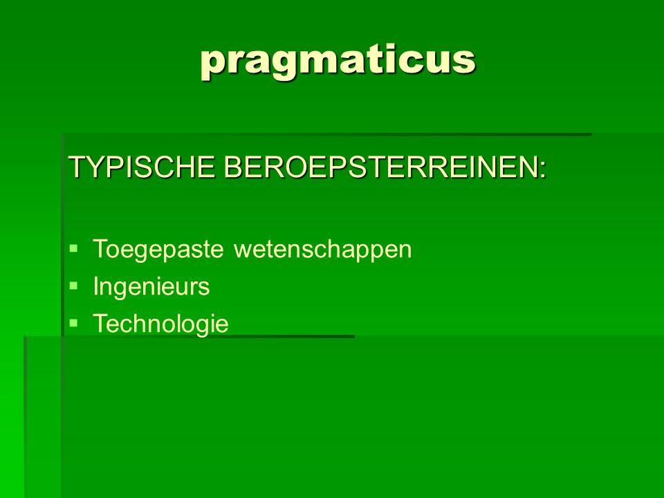 pragmaticus TYPISCHE BEROEPSTERREINEN:  Toegepaste wetenschappen  Ingenieurs  Technologie