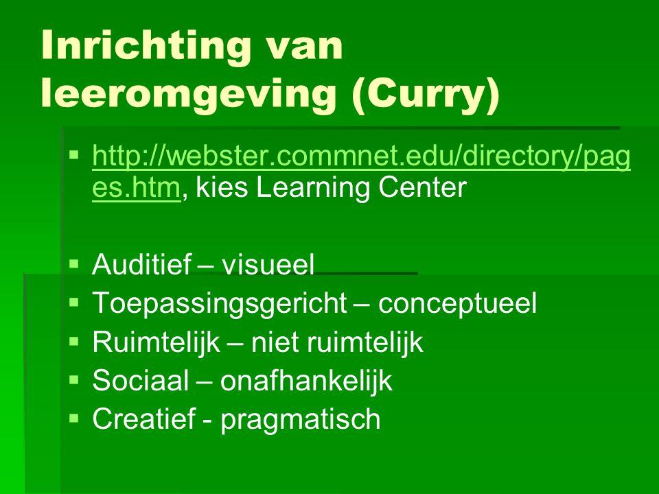 Inrichting van leeromgeving (Curry)   http://webster.commnet.edu/directory/pag es.htm, kies Learning Center http://webster.commnet.edu/directory/pag