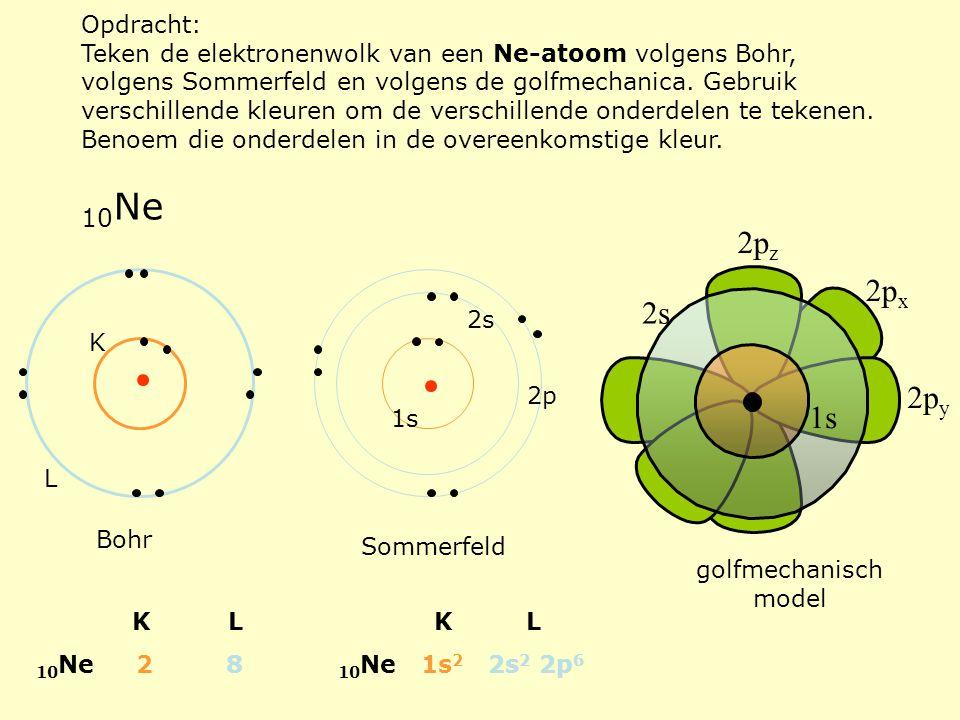 Opdracht: Teken de elektronenwolk van een Ne-atoom volgens Bohr, volgens Sommerfeld en volgens de golfmechanica. Gebruik verschillende kleuren om de v