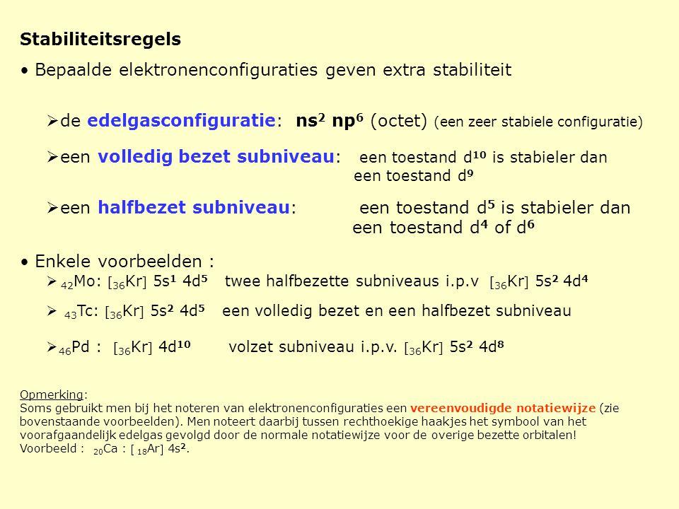 Stabiliteitsregels • Bepaalde elektronenconfiguraties geven extra stabiliteit  de edelgasconfiguratie: ns 2 np 6 (octet) (een zeer stabiele configura
