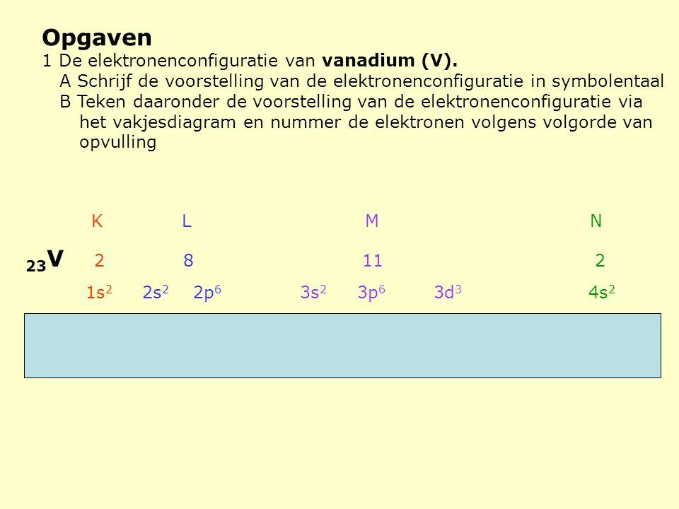 Opgaven 1 De elektronenconfiguratie van vanadium (V). A Schrijf de voorstelling van de elektronenconfiguratie in symbolentaal B Teken daaronder de voo