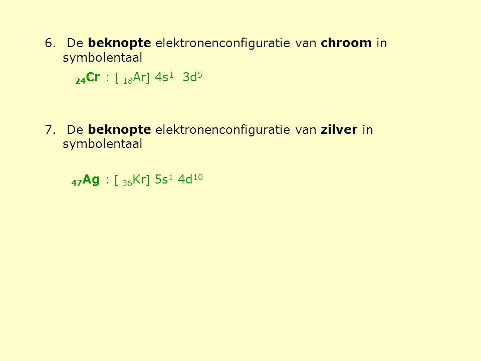 6. De beknopte elektronenconfiguratie van chroom in symbolentaal 7. De beknopte elektronenconfiguratie van zilver in symbolentaal 24 Cr :  18 Ar 4s