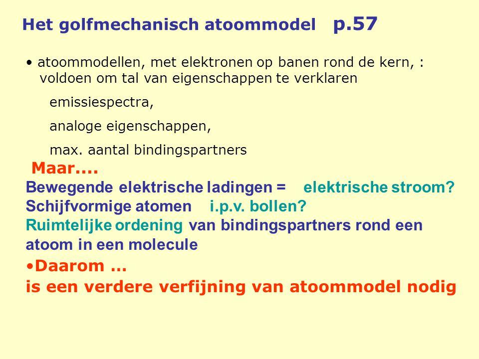 • atoommodellen, met elektronen op banen rond de kern, : voldoen om tal van eigenschappen te verklaren emissiespectra, analoge eigenschappen, max. aan