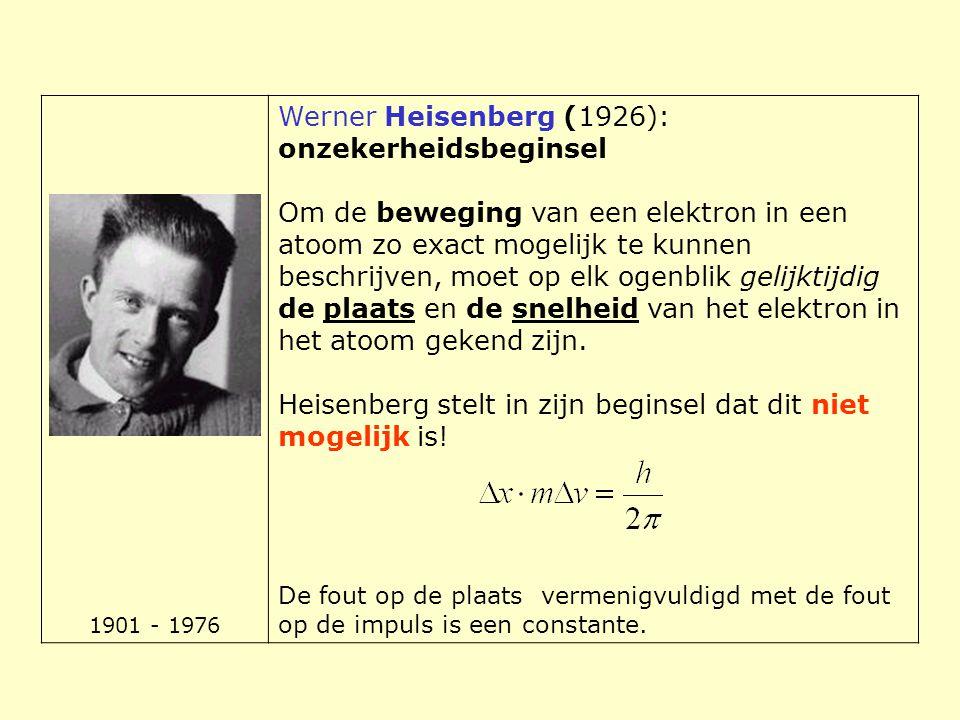 1901 - 1976 Werner Heisenberg (1926): onzekerheidsbeginsel Om de beweging van een elektron in een atoom zo exact mogelijk te kunnen beschrijven, moet
