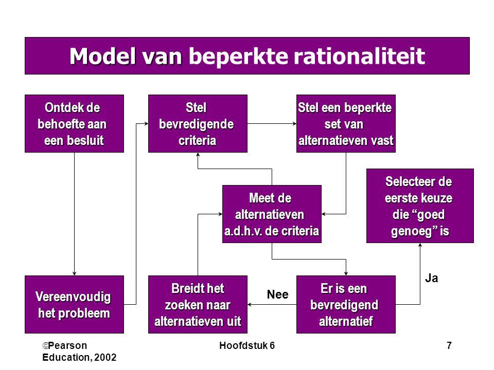  Pearson Education, 2002 Hoofdstuk 67 Model van Model van beperkte rationaliteit Ontdek de behoefte aan een besluit Vereenvoudig het probleem Stelbev