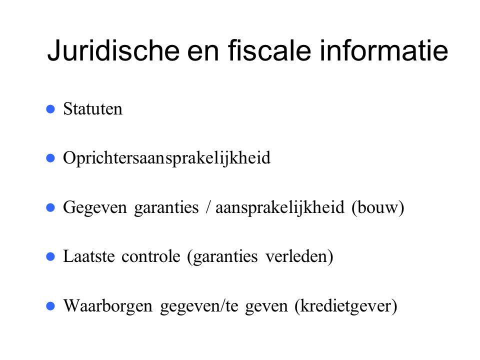 Juridische en fiscale informatie  Statuten  Oprichtersaansprakelijkheid  Gegeven garanties / aansprakelijkheid (bouw)  Laatste controle (garanties