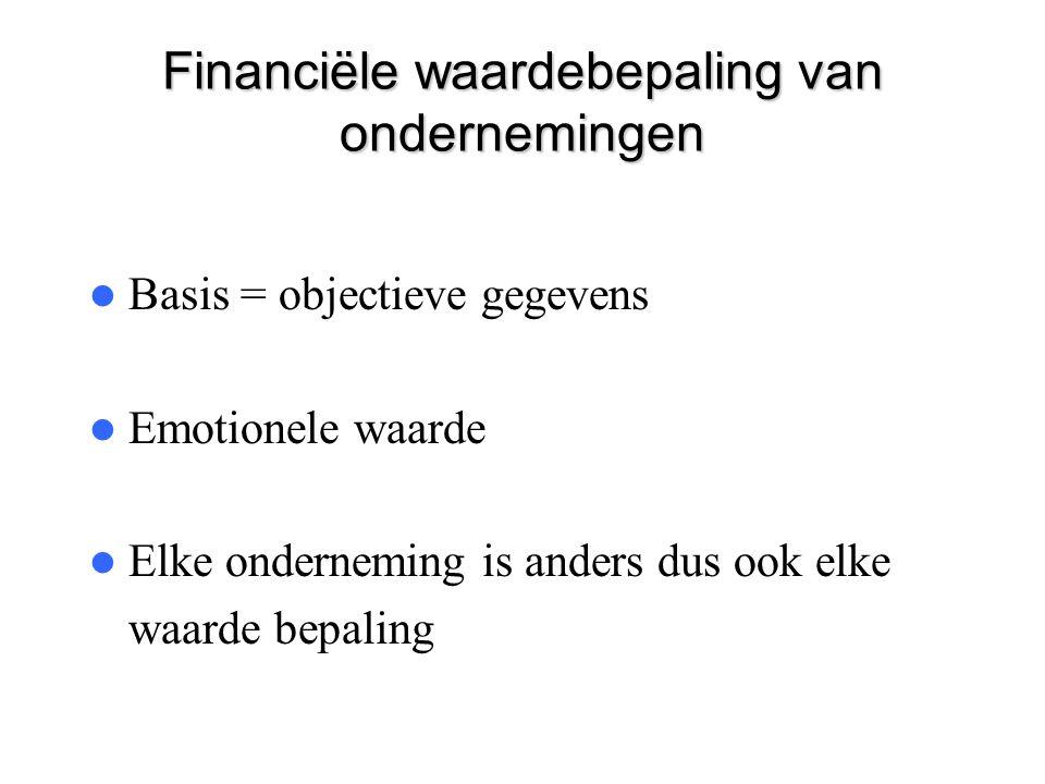 Financiële waardebepaling van ondernemingen  Basis = objectieve gegevens  Emotionele waarde  Elke onderneming is anders dus ook elke waarde bepalin