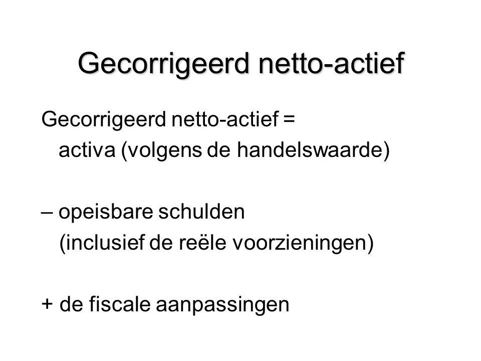 Gecorrigeerd netto-actief Gecorrigeerd netto-actief = activa (volgens de handelswaarde) – opeisbare schulden (inclusief de reële voorzieningen) + de f