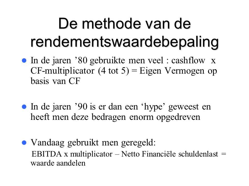 De methode van de rendementswaardebepaling  In de jaren '80 gebruikte men veel : cashflow x CF-multiplicator (4 tot 5) = Eigen Vermogen op basis van