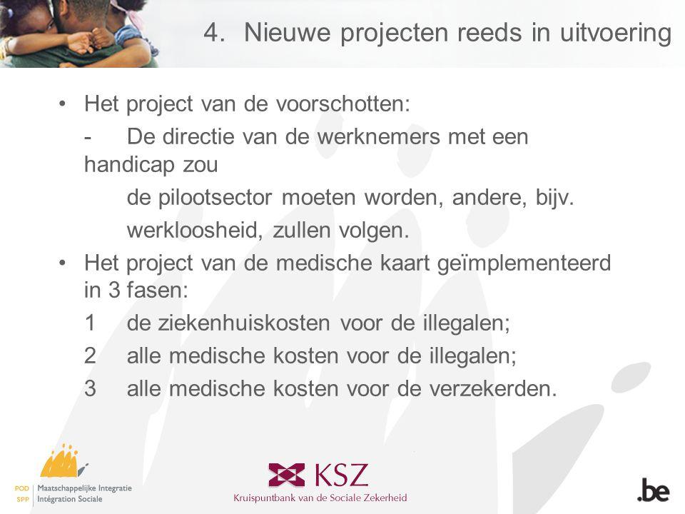 4.Nieuwe projecten reeds in uitvoering •Het project van de voorschotten: -De directie van de werknemers met een handicap zou de pilootsector moeten worden, andere, bijv.