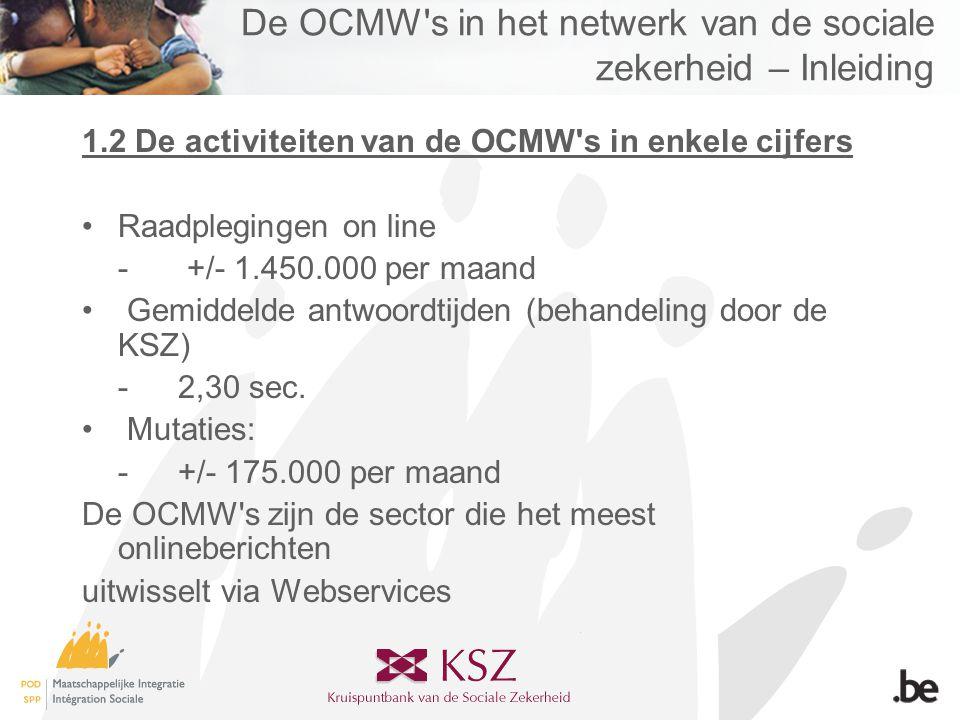De OCMW s in het netwerk van de sociale zekerheid – Inleiding 1.2 De activiteiten van de OCMW s in enkele cijfers •Raadplegingen on line - +/- 1.450.000 per maand • Gemiddelde antwoordtijden (behandeling door de KSZ) -2,30 sec.