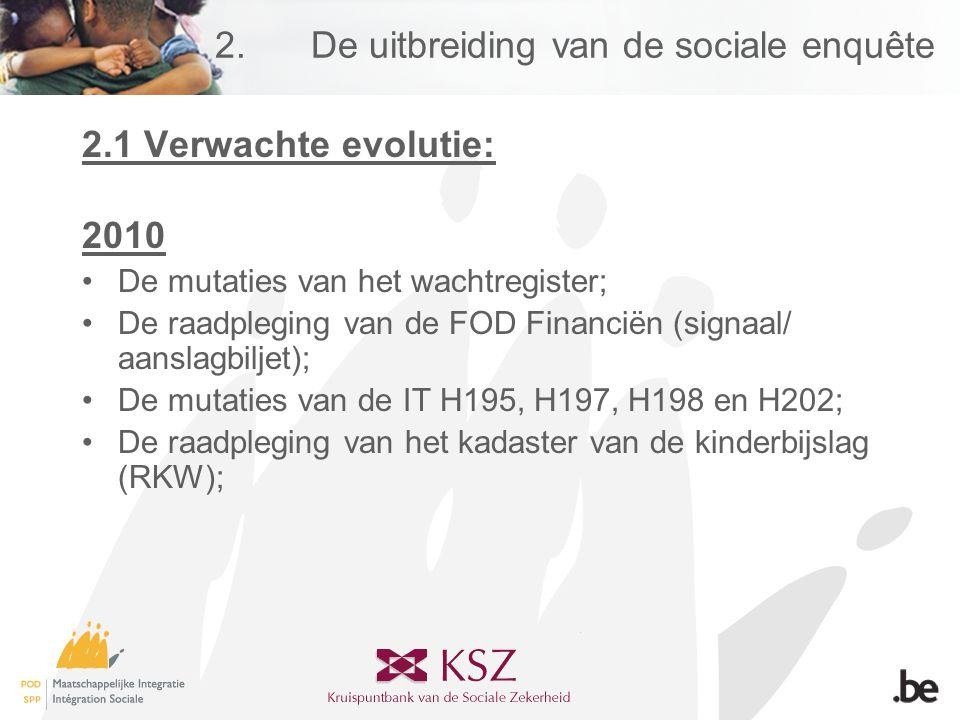 2.De uitbreiding van de sociale enquête 2.1 Verwachte evolutie: 2010 •De mutaties van het wachtregister; •De raadpleging van de FOD Financiën (signaal/ aanslagbiljet); •De mutaties van de IT H195, H197, H198 en H202; •De raadpleging van het kadaster van de kinderbijslag (RKW);