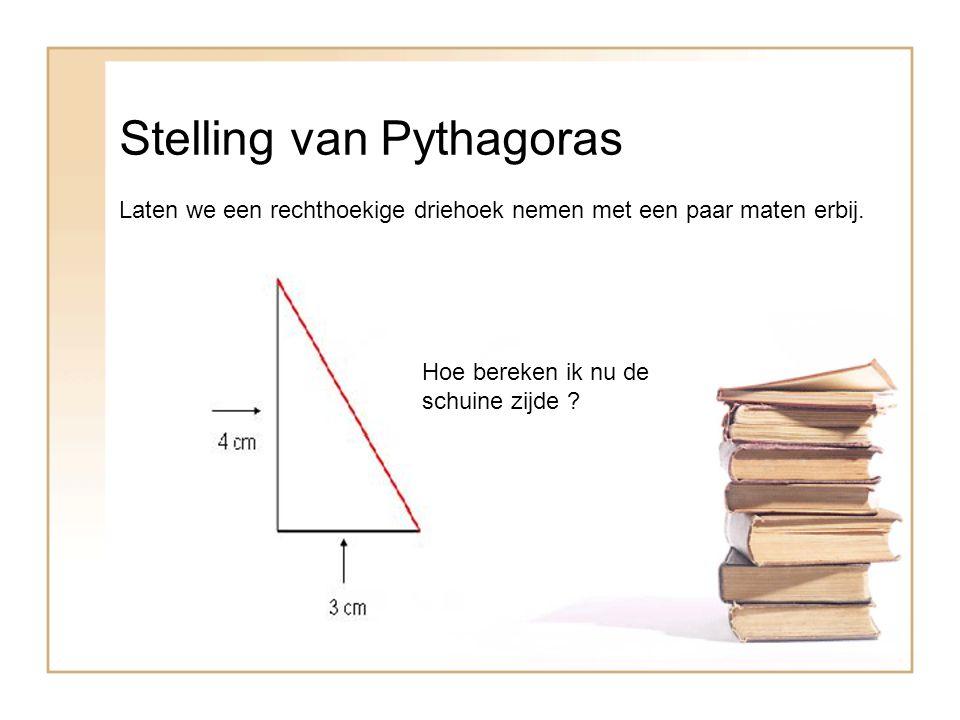 Stelling van Pythagoras Laten we een rechthoekige driehoek nemen met een paar maten erbij.