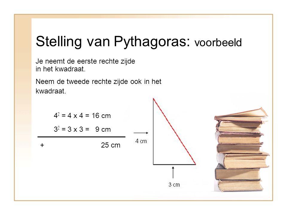 Stelling van Pythagoras: voorbeeld Je neemt de eerste rechte zijde in het kwadraat.