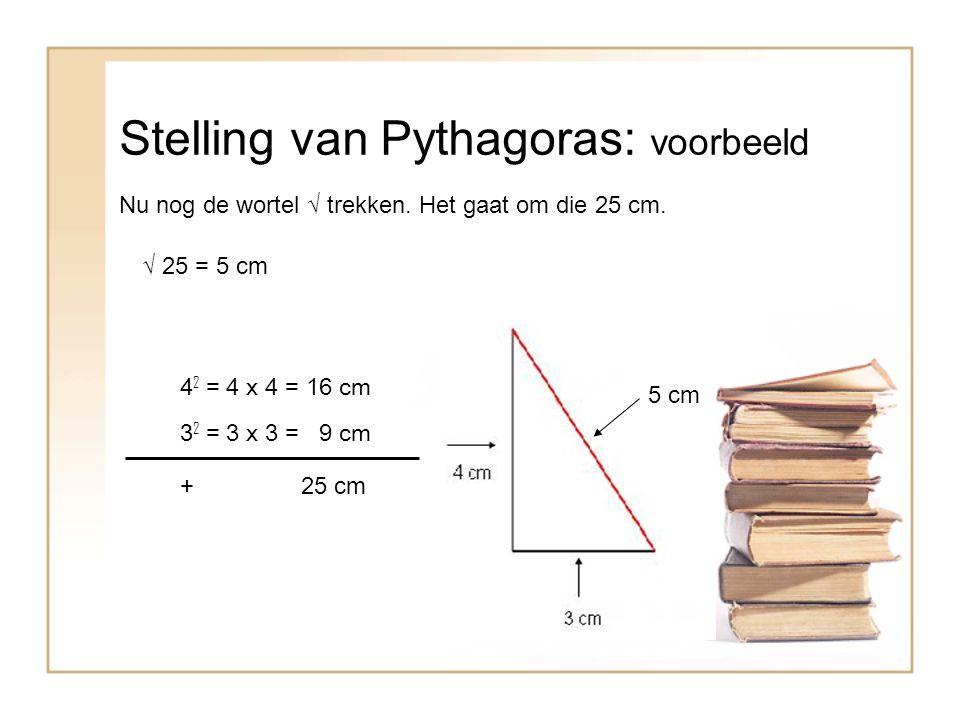 Stelling van Pythagoras: voorbeeld Nu nog de wortel √ trekken.