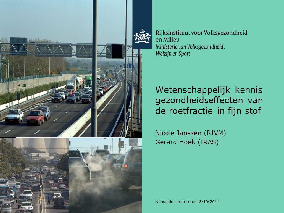 1Nationale conferentie 5-10-2011 Wetenschappelijk kennis gezondheidseffecten van de roetfractie in fijn stof Nicole Janssen (RIVM) Gerard Hoek (IRAS)