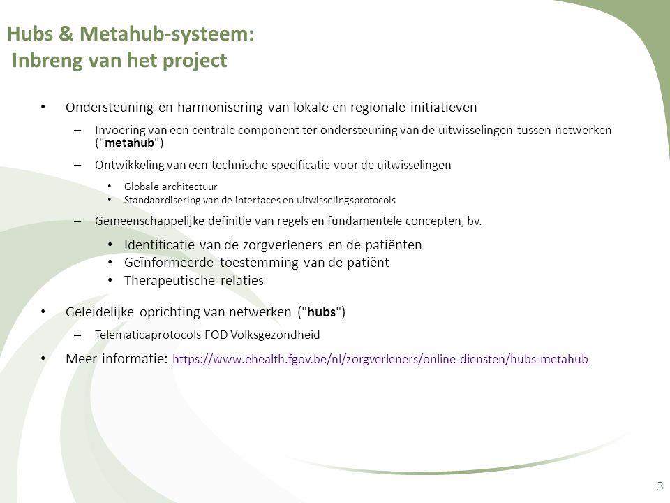 3 Hubs & Metahub-systeem: Inbreng van het project • Ondersteuning en harmonisering van lokale en regionale initiatieven – Invoering van een centrale c