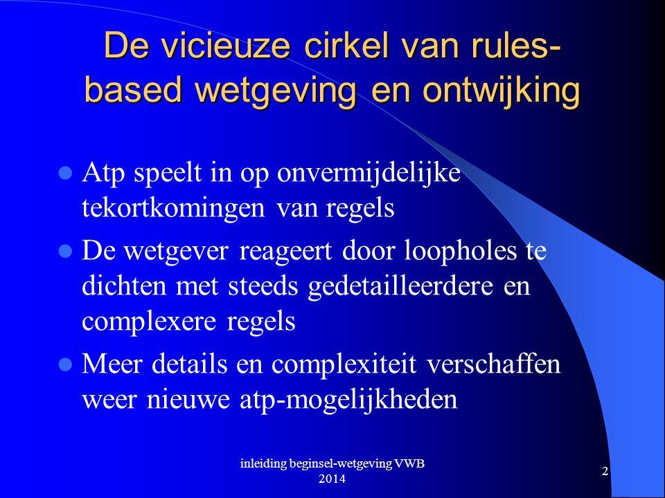De vicieuze cirkel van rules- based wetgeving en ontwijking  Atp speelt in op onvermijdelijke tekortkomingen van regels  De wetgever reageert door l