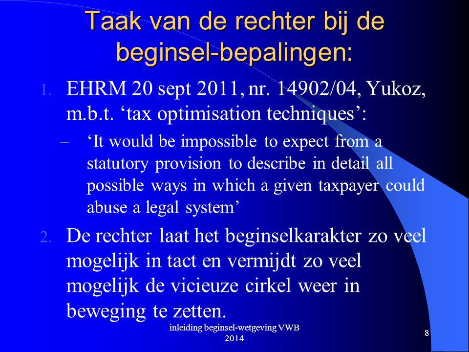 Taak van de rechter bij de beginsel-bepalingen: 1. EHRM 20 sept 2011, nr. 14902/04, Yukoz, m.b.t. 'tax optimisation techniques': – 'It would be imposs