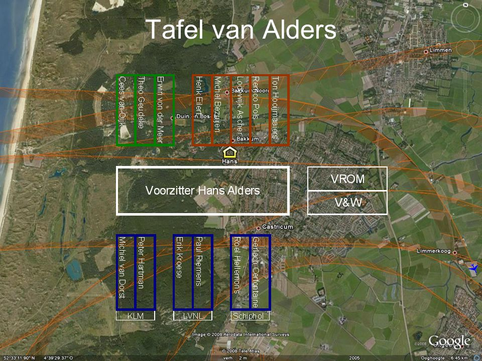 Knelpunten Alders •425.000 naar 580.000 vliegbewegingen •510.00 indien 70.000 vluchten naar Lelystad en Eindhoven.