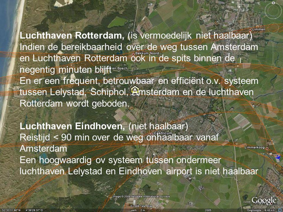 Luchthaven Rotterdam, (is vermoedelijk niet haalbaar) Indien de bereikbaarheid over de weg tussen Amsterdam en Luchthaven Rotterdam ook in de spits bi