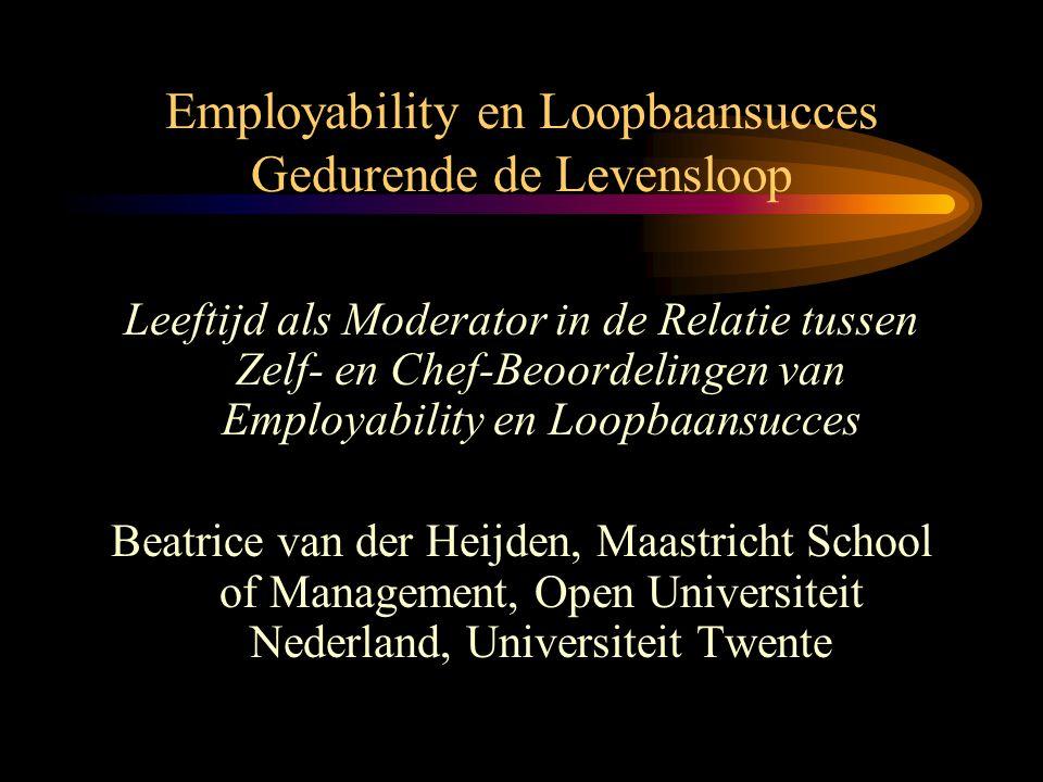 Introductie •Employability (of loopbaanpotentieel) wordt gezien als een vereiste voor loopbaansucces (cf.
