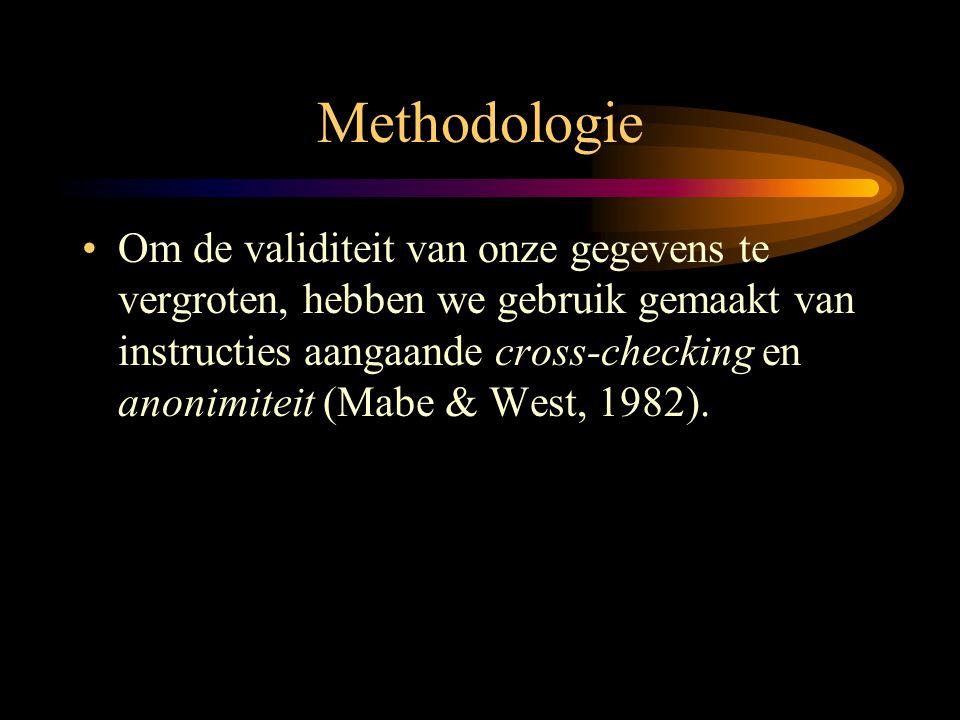 Methodologie •Om de validiteit van onze gegevens te vergroten, hebben we gebruik gemaakt van instructies aangaande cross-checking en anonimiteit (Mabe
