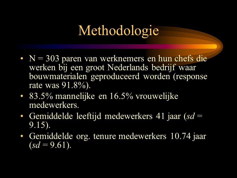 Methodologie •N = 303 paren van werknemers en hun chefs die werken bij een groot Nederlands bedrijf waar bouwmaterialen geproduceerd worden (response