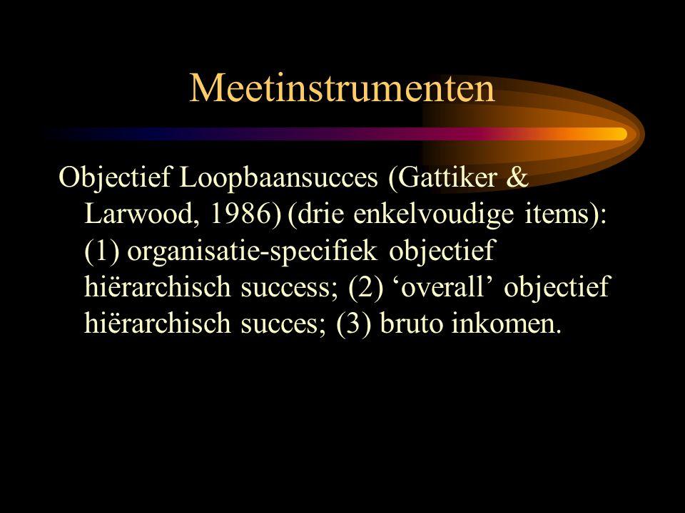 Meetinstrumenten Objectief Loopbaansucces (Gattiker & Larwood, 1986) (drie enkelvoudige items): (1) organisatie-specifiek objectief hiërarchisch succe