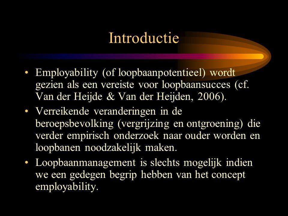 Doelstellingen van de Studie •Het testen van de operationalisatie van employability, en onderzoeken of de factorstructuur voor zelf- versus chef- beoordelingen van employability gelijk is over twee leeftijdsgroepen van werknemers ('jongeren' versus 'veertig-plussers').