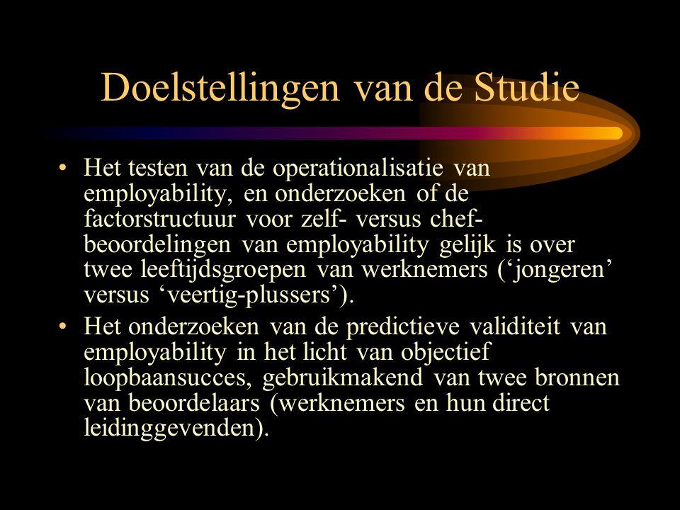Doelstellingen van de Studie •Het testen van de operationalisatie van employability, en onderzoeken of de factorstructuur voor zelf- versus chef- beoo